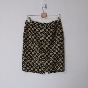 Gold Floral Print Skirt